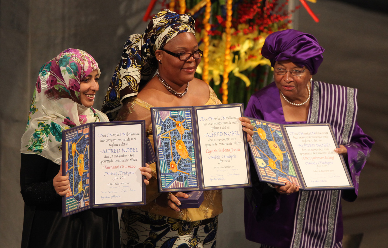 Tawakkul Karman Leymah Gbowee Ellen Johnson Sirleaf Nobel Peace Prize 2011 Harry Wad
